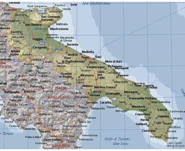 Cartina Puglia Ionio.Le Regioni Italiane La Puglia Comitato Linguistico Perugia