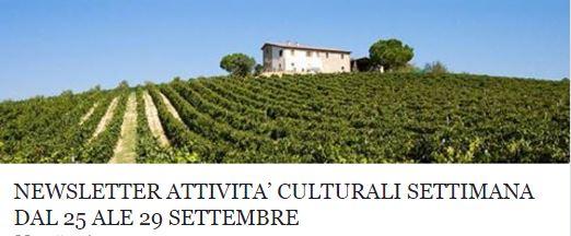 Le attività culturali della settimana dal 25 al 29 settembre!