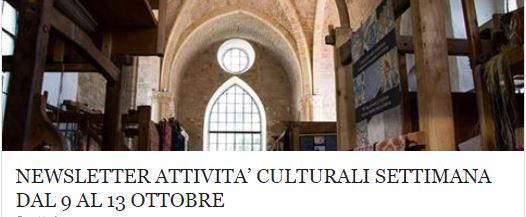 Le attività culturali della settimana dal 9 al 13 ottobre!