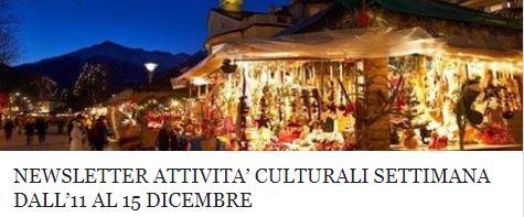 Le attività culturali della settimana dall'11 al 15 dicembre!